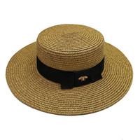 Женская широкая шляпа Gold Gold Bee Cover Cap женские моды плоские верхние тканые колпачки девушки ведро шляпа летом солнца шляпы виновники
