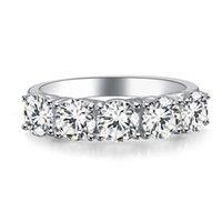 الاسترليني الفضة والمجوهرات 2.5ct 5 الأحجار nscd الماس الدائري للنساء 18 كيلو الذهب الأبيض مطلي الذكرى خواتم العلامة التجارية جودة الفاخرة خمر مجوهرات هدية الزفاف