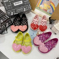 Mini Melissa 3D coeur mignon d'été Sandal Fille Jelly Chaussures Sandales 2020 Chaussures Melissa nouveau bébé Sandales d'enfants Princesse filles enfants filles CITX #