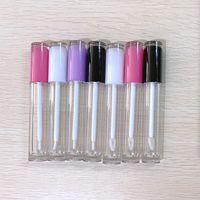 5ml vazio labelo tubos de brilho labial escova escova de varinha contêiner bordo labial bálsamo recarregável diy lipgloss tubo