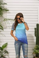 Tshirt Loose Gradient Color Casual tops Women Designer Panelled Clothing Summer Crew Neck Striped Print Womens