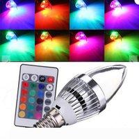 LED RGB lume di candela E12 E14 3W LED luci di lampadine 16 colori Change + 24keys IR telecomando