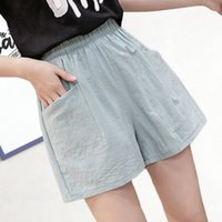 Fashion Cotton Linen Shorts With Pockets Women Summer High W...
