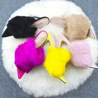 Women's Slippers Fluffy Slippers Suede Pointed Multi Color Slim Heel Shallow Mouth Ultra High Heel Solid Color European and American Style
