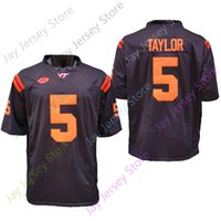 2020 Nova NCAA Virginia Tech Hokies Jerseys 5 Tyrode Taylor College Football Jersey Tamanho Preto Adulto