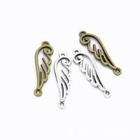 300pcs / bronze beaucoup connector ailes d'ange en argent plaqué Charms Pendentifs pour Bijoux Faire de bricolage à la main 32 * 10mm