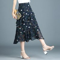 Black Navy Chiffon Skirts For Women Spring Summer New Floral...