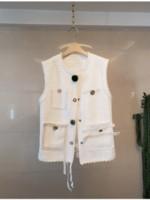 2020 Spedizione gratuita Brand Same Vest Vest Vest Pulsante senza maniche Nero Bianco Moda Donna Vestiti Huilin