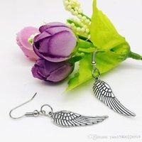 """20pairs Angel Wing Dangle Oorbellen Tibetaans Zilver 1,2x0,4 """"Heet"""