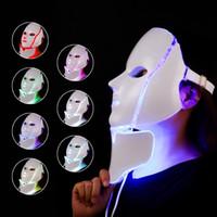 المبيعات الأولى 7 ألوان الصمام قناع الوجه والرقبة ems مايكرو التجاعيد الحالية حرة حب الشباب آلة الجمال الكهربائية