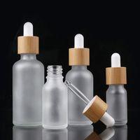 10ml 15 ml 20ml 30ml Mattes klares klares Glas-Troppfeflasche mit Bambus-Deckel-Kappe ätherisches Öl Glasflasche frostig grün EA1817