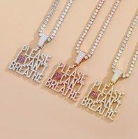 Hip-Hop-Zirkon Buchstaben Hip-Hop-Cross-Border-Halskette auf I Come nicht Halskette Liebhaber Schmuck beste Geschenk atmen