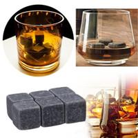6 PC / Bolsa piedras del whisky piedras naturales congelados vino de hielo de piedra Bar utensilios de cocina y jardín Instrumento de Bar T9I00468
