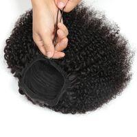 Alimagic Cordstring Afro Kinky Curly Hair Cheveux humains Non-Rémy Extensions de Cheveux Indiens Pony Tail pour Afro-américain