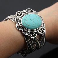 Урожай Экзотические напыщенные Металл тибетский серебряный овальный Природный камень бирюзовый ретро браслет манжеты браслет подарок для женщин ps1377