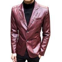 Botão Casual PU Leather Jacket de couro da motocicleta Homens jaqueta de inverno New Men Outono casuais dos homens Vestuário de Slim