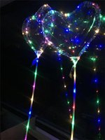 Love Heart LED Luminous Balloon BoBo Ball Flashing Light Transparent Hear Shape Balloons with Pole Toys for Wedding Party Decorations Best