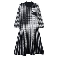 720 2020 Autumn frete grátis Crew Neck 3/4 Plaid vestido Kint Moda Womens Clothes YL