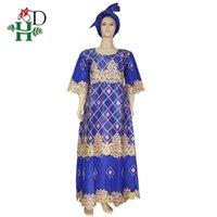 HD 2020 Ropa sudafricana Vestido de encaje azul para las mujeres Bazin Riche Maxi Vestidos Nigerianos Party Fourlard Africain Femme