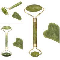 Manuel Rouleau de massage Jade naturel Instrument de beauté classique Massor Bâton Guasha Anti déchirage Outil de levage peau du visage 5HH D2