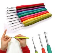 9PC / Set metallo uncinetto ferri da maglia Strumento crochet con la maniglia molle fai da te ferri da maglia all'ingrosso