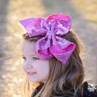 Acessórios de cabelo de 8 polegadas Lantejoula grande arco com clipe para meninas de alta qualidade brilhante cor de corcovelos kids bcak escola