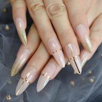 Falsas Nails Luxury Desnudo Gold Golitter Dorado Línea Decoración Extra Long Fake Stiletto Pigment Diseñador Hecho A Mano Consejos