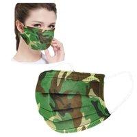 Camuflaje de la mascarilla desechable para no tejida máscara oído la cara del lazo Boca Máscara 3 capas a prueba de polvo anti-polvo adultos Partido Máscaras CCA12344