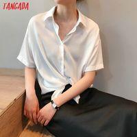 Tangada women summer shirts short sleeve solid elegant office ladies work wear blouses high quality ASF10 CX200709