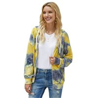 tie dye donne hoodies di modo Occident Trend cardigan manica lunga Pocket Zipper Hooded Sweater Designer allentata femminile Felpe Casual