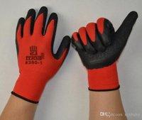 NEW Black Latex покрытием красный / серый хлопок рабочие перчатки Перчатки нейлон Консольные морщинистой перчатки