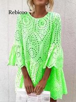 New Womens Flowers Solid Lace Short Sleeve Round Neck Party Dress Vintage Lace Dress Summer Sexy Dresses Vestidos