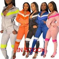 femme à manches longues Survêtement Designer Zipper Vestes Hauts Crop + Pantalons Ensemble 2 pièces Tenues Pleuche ThickenPatchwork Survêtement de D72812