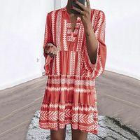 Summer Beach Mini Dress Vintage Floral Print Boho Long Flare Sleeve Beach Dress Casual Fold Hight Waist Party Robe