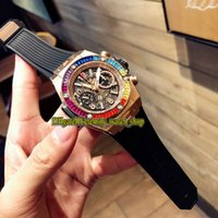 üst seviye versiyonu Bezel Flyback Chrono 1242 Chronograph Otomatik Erkek İzle Pembe Altın Davası 4901 Saat kakma 411 Gökkuşağı buzlu Out elmas