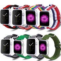 Apple Watch Band Rainbow Nylon Strap 디자인 직물 교체 시리즈 SE 6/5/4/3/2/1 스테인레스 스틸 버클 무료 배송