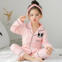 Spring and autumn children's long sleeved pajamas suit for kids 100%cottonSilk girls boys household clothes children pajamas Designer