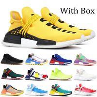 Ucuz NMD Pharrell Williams Güneş Paketi Anne BBC Siyah Sarı Womens insan ırkı Koşu Ayakkabı Nü Nerd Krem Sneakers ile Kutusu Pale
