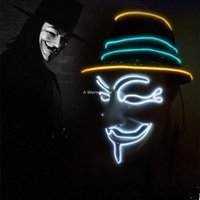 근친 복수 마스카라 주도 가이 포크스 가면극 가장 무도회 마스크 파티 마스카라 할로윈 빛나는 마스 커 빛 Maska 무서운위한 V 마스크 네온