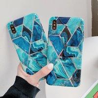 Casos geométricas de mármore de telefone para iPhone 11 Pro Max XR XS Max 6 6S 7 8 Plus X macio IMD Electroplated tampa traseira Coque