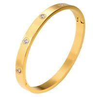 Мужская нержавеющей стали Мужские золотые браслеты браслет браслет для женщин дизайнер ювелирных изделий Любовь Браслет циркониевый Кристалл с мешками подарков