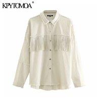 Kpytomoa Donne 2020 Moda con borchie con ingrossning Giacca di Denim Denim Cappotto Vintage Manica Lunga Frayed Femminile Capispalla femminile Chic Tops CX200725