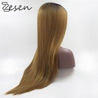 ZESEN 1BT / 30 perruques avant de lacets droites soyeuses pour femmes noires perruques de dentelle perruque synthétique Perruques de cheveux libres résistant à la chaleur avec les cheveux de bébé
