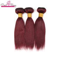Greatremy Renk 99J Kırmızı Şarap Brezilyalı Düz İnsan saç örgüleri 3pcs / lot 10-24inch Burgonya Renk Brezilyalı Virgin Saç Uzatma