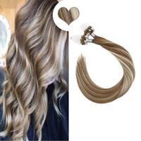 Gerade Schleife Micro Ring Haare Menschliche Micro-Perlen-Verbindungen Maschine gemacht Remy Hair-Erweiterungen 50g 14-22 Zoll