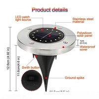 Solar Powered 16 LED Lighting waterproof Buried Ground Underground Light for Outdoor Path Garden Lawn Landscape Decoration Lamp