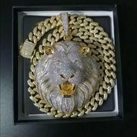 Joyería para hombre Hip Hop Iced Out Colgante Collar Bling Diamond Cuban Link Cadena Grande Colgantes Lion Animal Rapper Accesorios