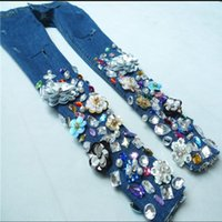 fashion Beaded jeans women diamonds embroidery flower pencil...