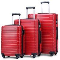 3 piezas de equipaje, maleta con ruedas portátil ABS 20/24/28 pulgadas Red, ampliable 8-rueda giratoria caso de equipaje, con mango telescópico, viaje t