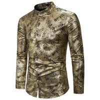 Shiny Gold Paisley Shirt Men 2020 Brand Nightclub Mandarin C...